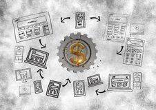 3D cog about money with graphic about webs. Digital composite of 3D cog about money with graphic about webs Royalty Free Stock Images