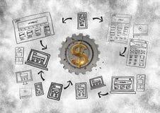 3D cog o pieniądze z grafiką o sieciach Obrazy Royalty Free