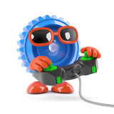 3d Cog playing a videogame Stock Image