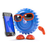 3d Cog with a smartphone Royalty Free Stock Photos
