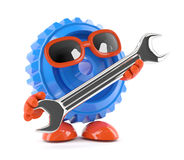 3d Cog with a spanner. 3d render of a cog holding a spanner Stock Image