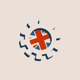3D cog wheel with Britain flag Royalty Free Stock Images