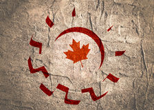 3D cog wheel with Canada flag. Precision machinery relative backdrop. Concrete textured Stock Photo