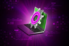 3d cog wheel with computer mouse Royalty Free Stock Photos