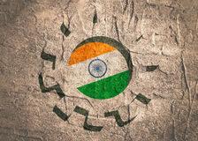 3D cog wheel with India flag Stock Images