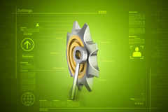 3d cog wheel with key Stock Image