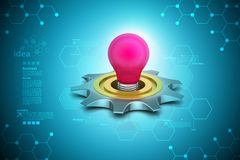 3d cog wheel with light bulb Stock Photo