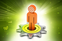 3d cog wheel with man Royalty Free Stock Images