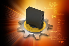 3d cog wheel with server Royalty Free Stock Image