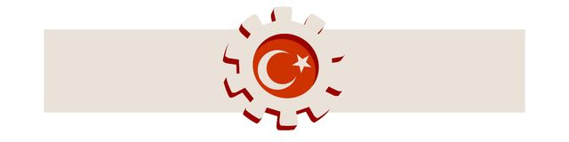 3D cog wheel with Turkey flag Royalty Free Stock Photos