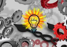 3D cogs background with bulb of an idea Royalty Free Stock Image