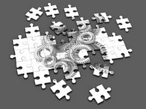 3d Cogs and gears jigsaw puzzle Stock Photography