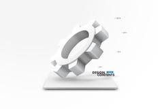 3D cogwheel design. 3D Geometrical cogwheel Design background Royalty Free Stock Photo
