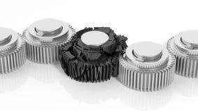 3D cogwheels with one broken Stock Photos