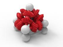 3D cogwheels pyramid assembly Stock Photos