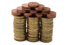 3d coins begreppsmässiga den gjorda husillustrationen framför Royaltyfri Bild