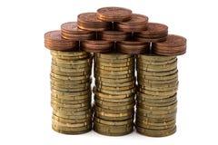 3d coins begreppsmässiga den gjorda husillustrationen framför Royaltyfria Bilder
