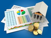 3d coins. 3d illustration of business documents and bank over blue background Royalty Free Stock Photos