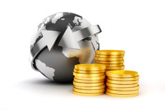 3d coins and earth planet. On white background Stock Photography