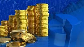 3d coins guld- Arkivfoto