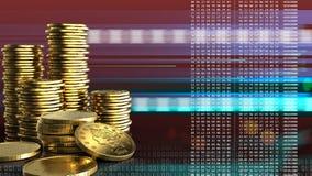 3d coins guld- stock illustrationer