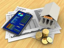 3d coins. 3d illustration of business charts and tablet over wood table background with bank Stock Photo