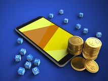 3d coins. 3d illustration of mobile phone over blue background with binary cubes and coins Stock Photos