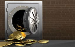 3d coins over bricks. 3d illustration of metal safe with coins over bricks background stock illustration
