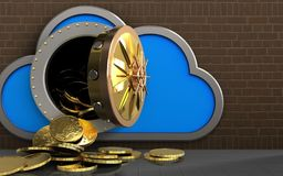 3d coins over bricks. 3d illustration of cloud with coins over bricks background vector illustration