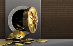 3d coins over bricks. 3d illustration of metal box with coins over bricks background vector illustration