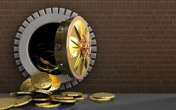 3d coins over bricks. 3d illustration of coins storage over bricks background stock illustration
