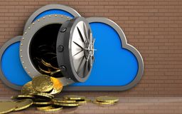 3d coins over bricks wall. 3d illustration of cloud with coins over bricks wall background Stock Photography