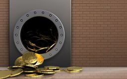 3d coins over bricks wall. 3d illustration of metal box with coins over bricks wall background Stock Photography