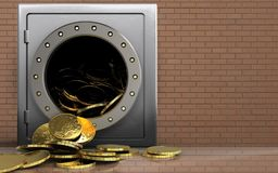3d coins over bricks wall. 3d illustration of metal safe with coins over bricks wall background Royalty Free Stock Photography