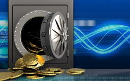 3d coins over digital waves Stock Illustration