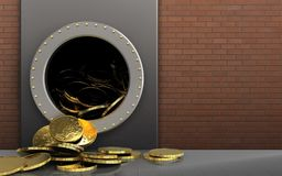 3d coins over red bricks. 3d illustration of metal box with coins over red bricks background Royalty Free Stock Photos