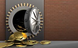 3d coins over red bricks. 3d illustration of metal box with coins over red bricks background Stock Photo
