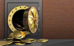 3d coins over red bricks. 3d illustration of metal safe with coins over red bricks background Royalty Free Stock Photos