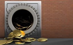 3d coins over red bricks. 3d illustration of metal safe with coins over red bricks background Royalty Free Stock Photography