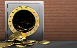 3d coins over red bricks. 3d illustration of metal safe with coins over red bricks background Royalty Free Stock Photo