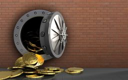 3d coins over red bricks. 3d illustration of coins storage over red bricks background Royalty Free Stock Photos