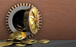 3d coins over red bricks. 3d illustration of coins storage over red bricks background Royalty Free Stock Images