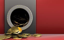 3d coins over red. 3d illustration of metal box with coins over red background Royalty Free Stock Images
