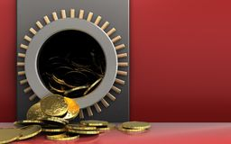 3d coins over red. 3d illustration of metal box with coins over red background Stock Photos