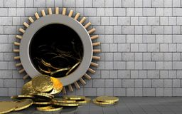 3d coins over white stones Stock Photo