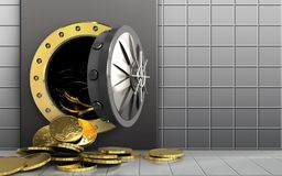 3d coins over white wall Royalty Free Stock Images