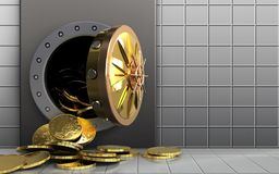 3d coins over white wall. 3d illustration of metal box with coins over white wall background Stock Photos