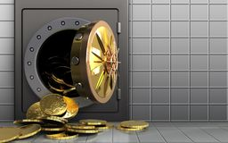 3d coins over white wall Stock Photography