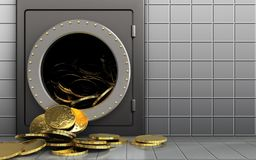 3d coins over white wall Royalty Free Stock Photos