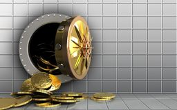 3d coins over white wall Royalty Free Stock Photo